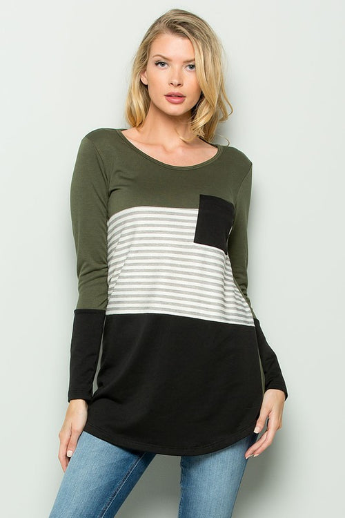 Olive Color Block Top