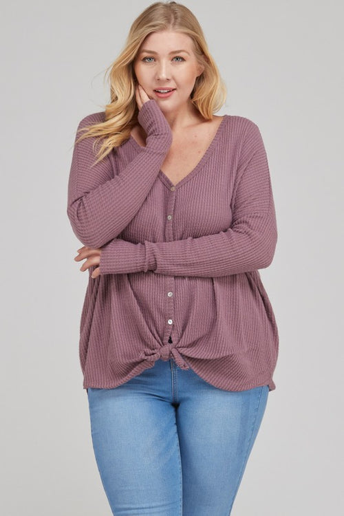Mauve Knit Button Down Top