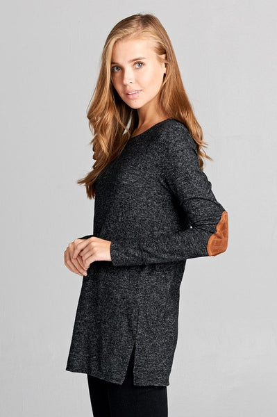 Black Quilted Suede Elbow Patch Top