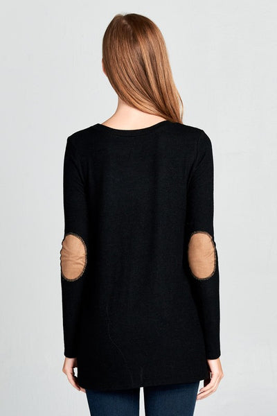 Black Elbow Patch Suede Sweater
