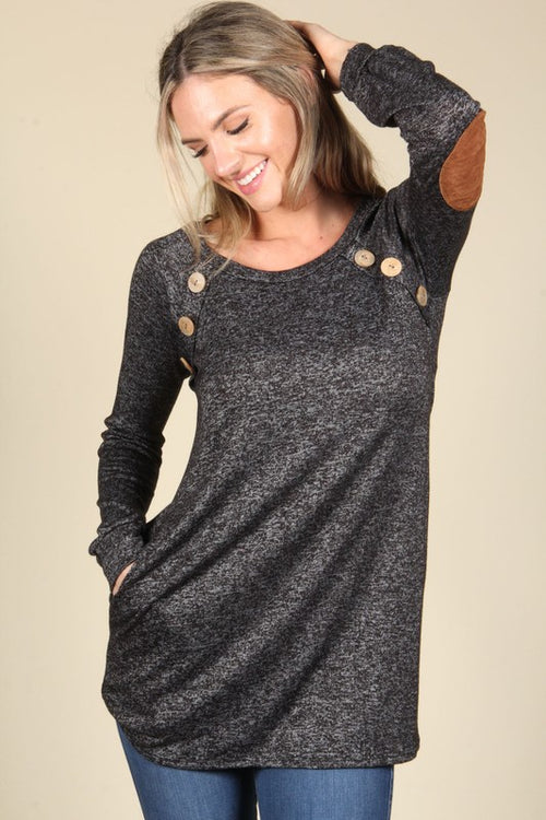 Black Tunic Elbow Patched Pocket Dress