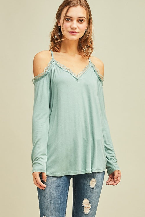 Sea of Green V-Neck Top