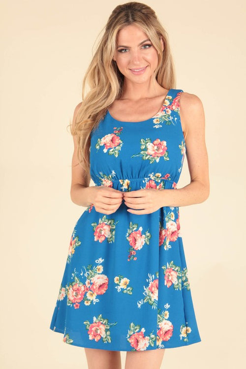 Floral Bright Blues Dress