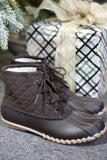 Brown Quilted Duck Boots