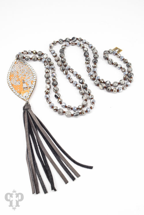 Silver Python Leather Tassel Necklace