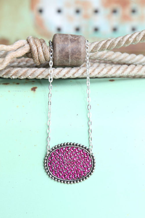 Pink Panache Large Oval Necklace