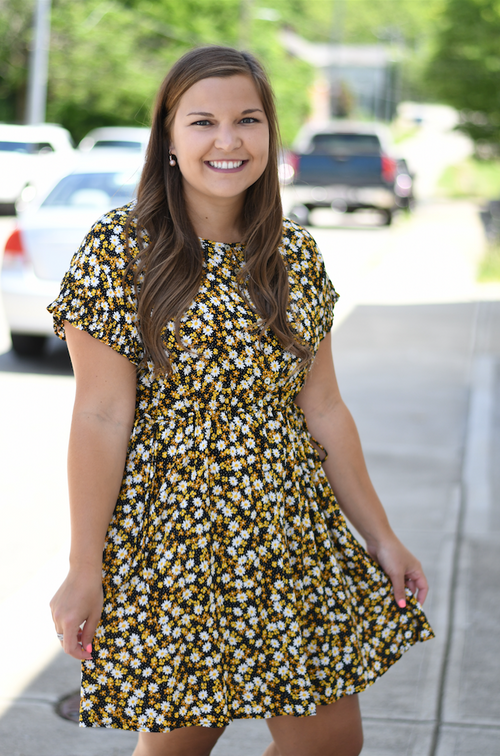 Daisy Floral Printed Button Up Dress