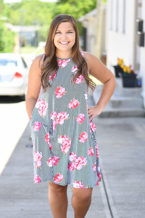 Floral Striped Sleeveless Dress