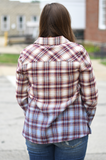 Burgundy Navy Ombre Plaid Top