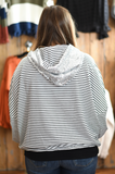 Striped Sequin Over Sized Hoodie