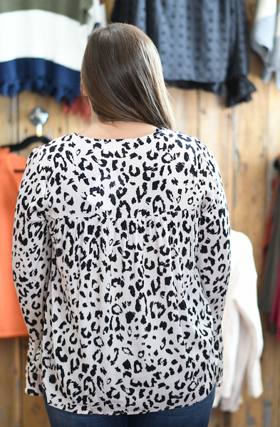Leopard Long Sleeve Embroidered Top