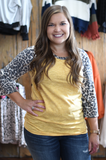 Mustard Leopard Sleeved Top