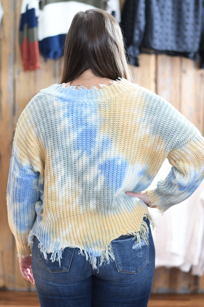 Distressed Tie Dye Sweater