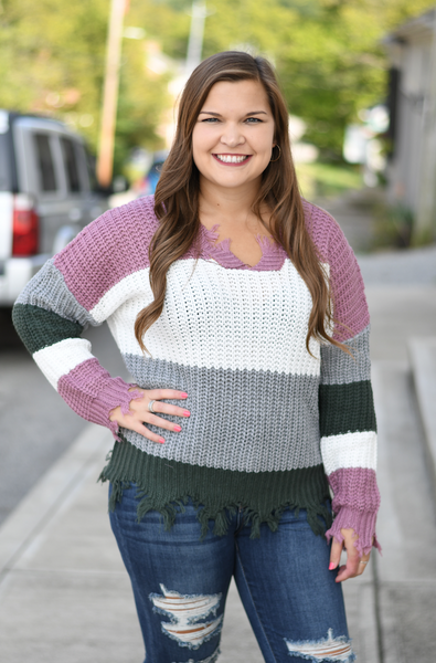 Hunter Green Distressed Color Block Sweater