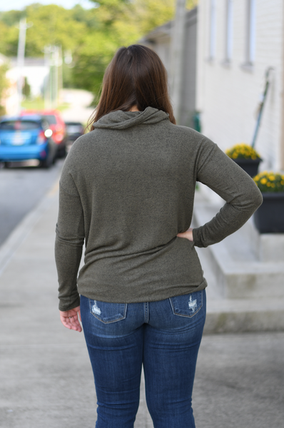 Olive Cowl Neck Button Sweater
