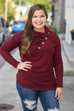 Burgundy Cowl Neck Button Sweater