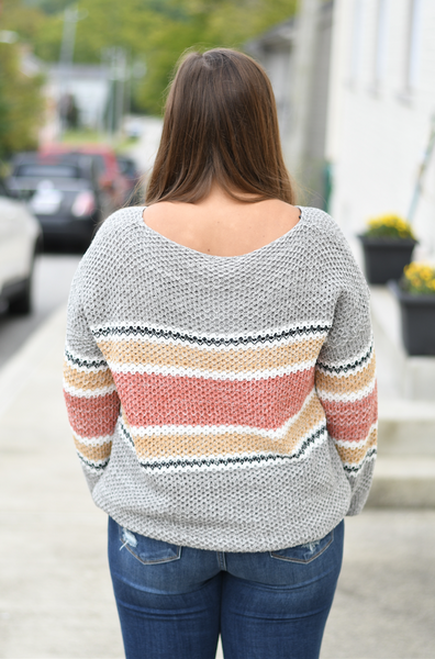 Rust Striped Knit Sweater