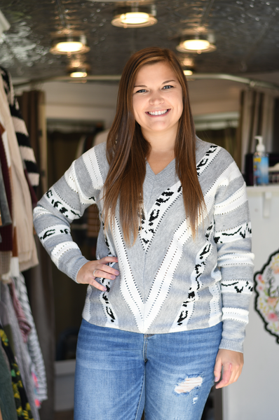 Heather Gray Leopard Chevron Sweater