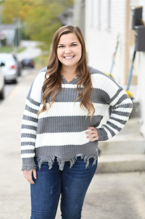 Distressed Grey Striped Sweater