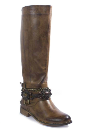 Tan Tall Detailed Boots
