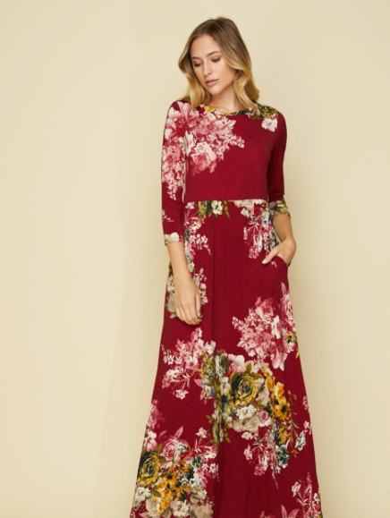 Burgundy Florals Maxi Dress