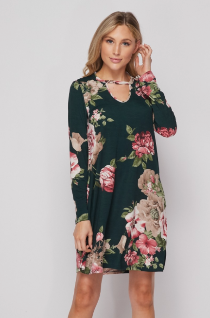Heather Green Mauve Floral Dress