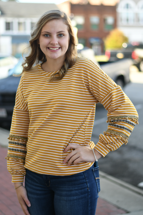 Mustard Stripes & Poms Top