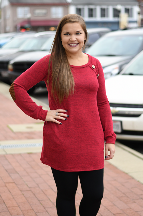 Burgundy Tunic with Pockets & Elbow Patches
