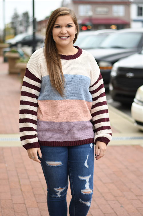 Burgundy Striped Sleeved Sweater