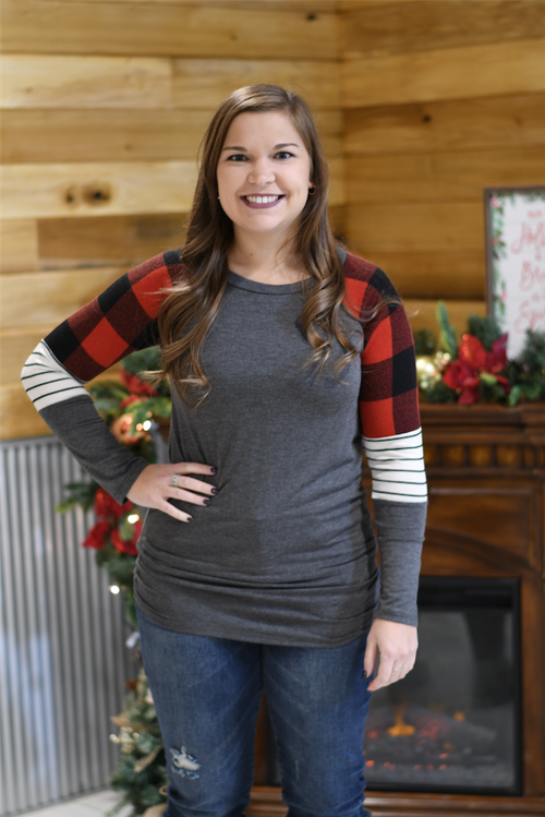 Buffalo Plaid Color Block Sleeved Top