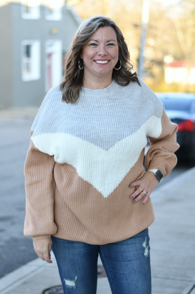 Toasted Almond Color Block Sweater