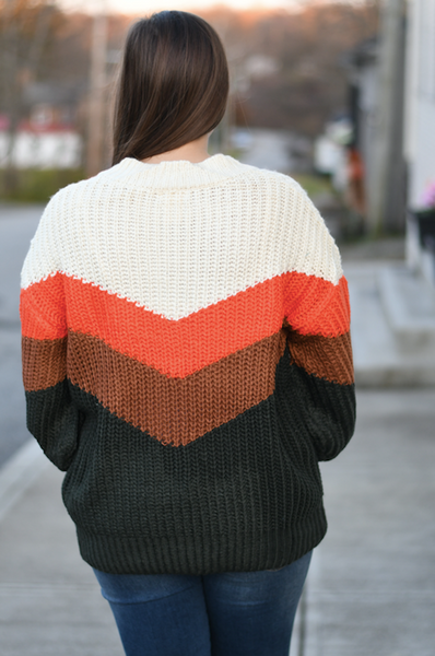 Orange Black Chevron Sweater
