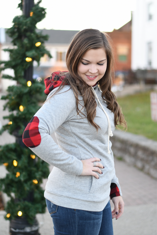 Grey Buffalo Plaid Double Hooded Sweatshirt