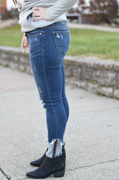 Cuffed Skinny Destroyed Hem Jean