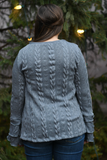 Gray Ruffle Knit Sweater
