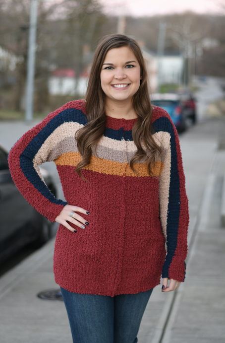 Maroon Color Block Popcorn Sweater