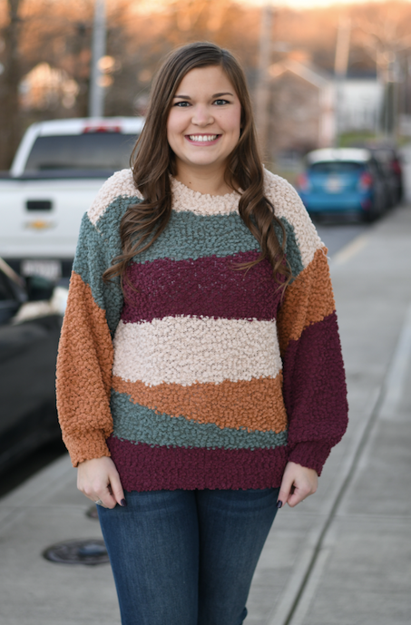 Popcorn Striped Color Block Sweater