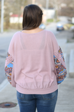 Mauve Floral Balloon Sleeve Top