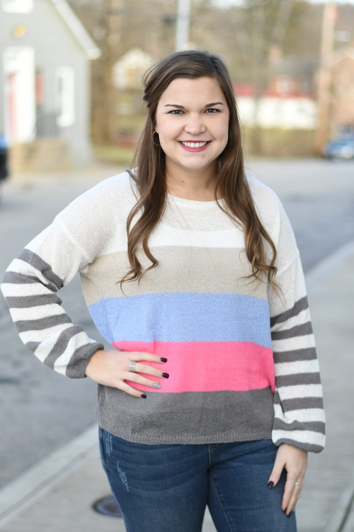 Color Block Striped Sleeves Top