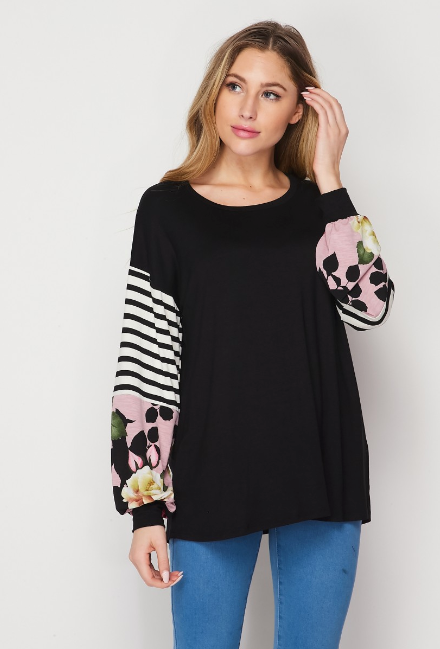 Black Mauve Floral Balloon Sleeve Top