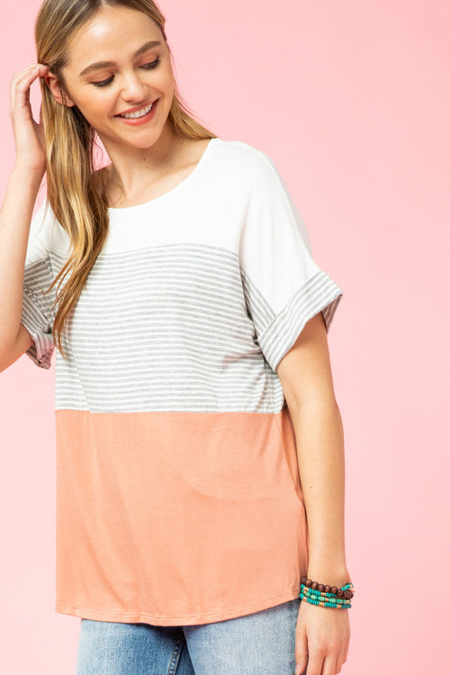 Peach Striped Color Block Top