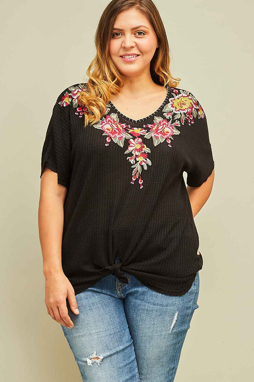 Black Lizzie Embroidered Top