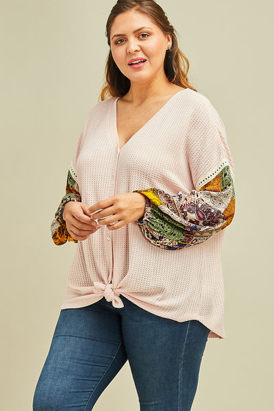 Curvy Blush Balloon Sleeve Top