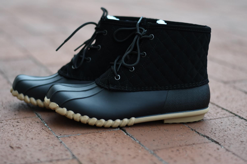 Black Quilted Duck Boots