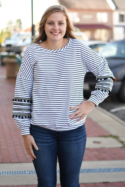Stripes & Poms Top