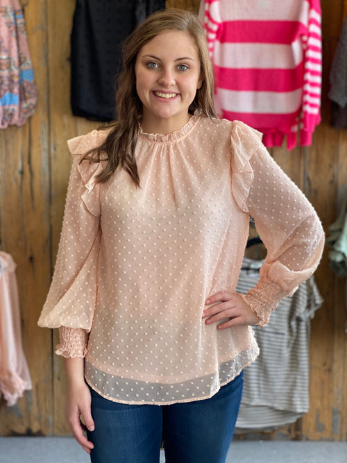 Blush Dotted Mock Top
