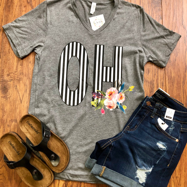 Ohio Striped Floal Graphic Tee