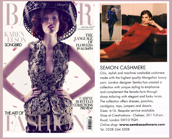 Don't miss out Harper's Bazaar UK May'13 issue to see SEMON Cashmere advertised!
