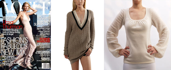 Actress Uma Thurman purchased these SEMON Cashmere pieces.