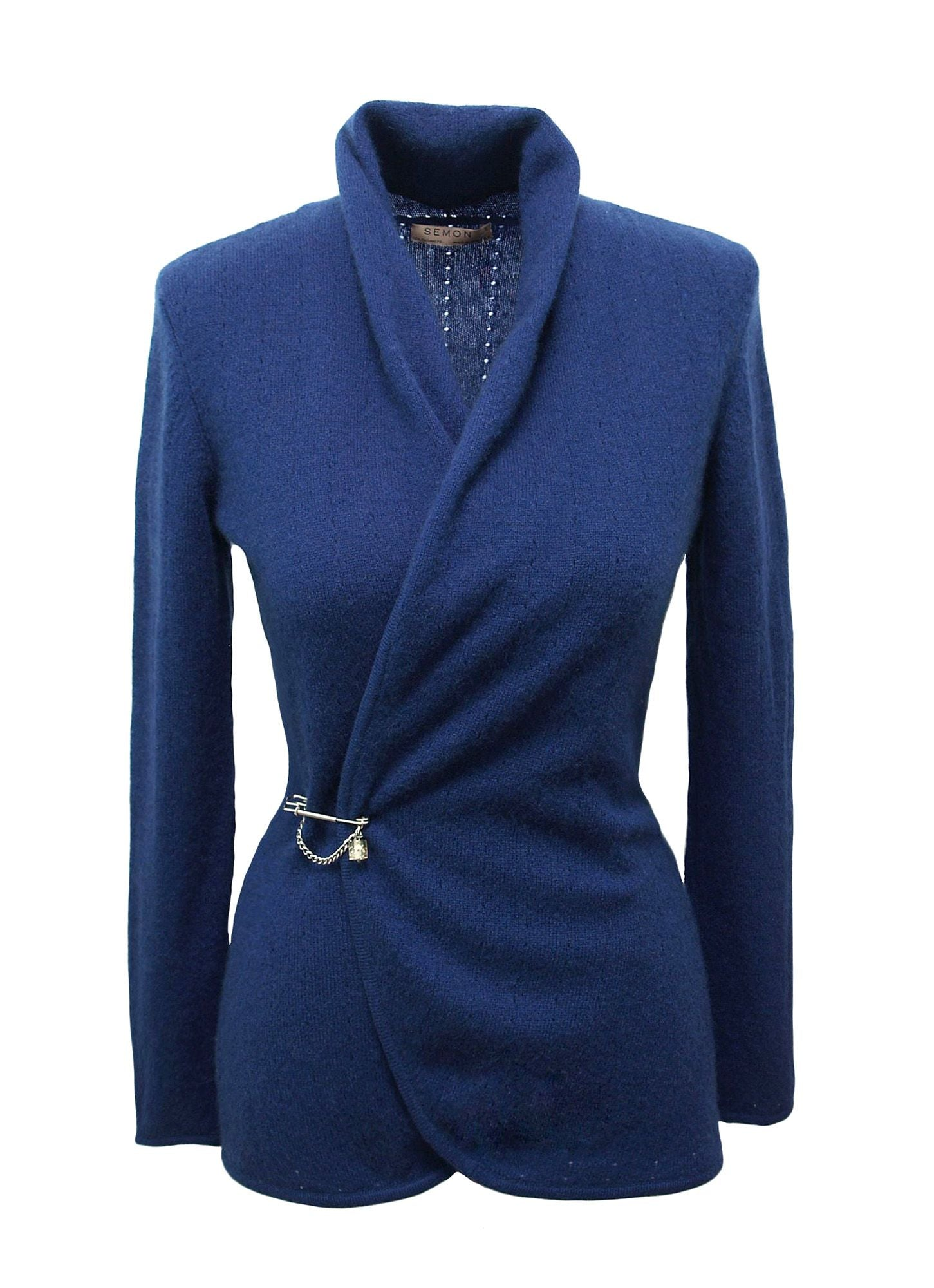 Lacy shawl neck cardigan in Mid blue